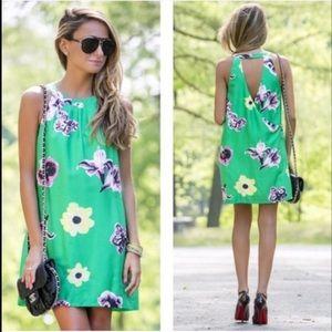 JCrew Size 6 Swoop Dress Green Punk Floral